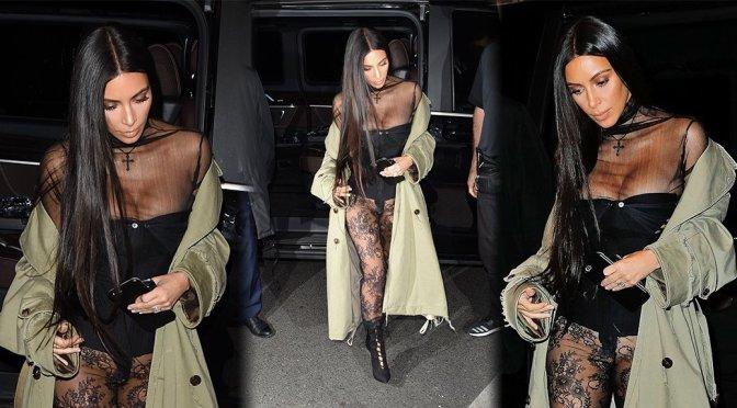 Kim Kardashian – Pantyless Candids in Paris
