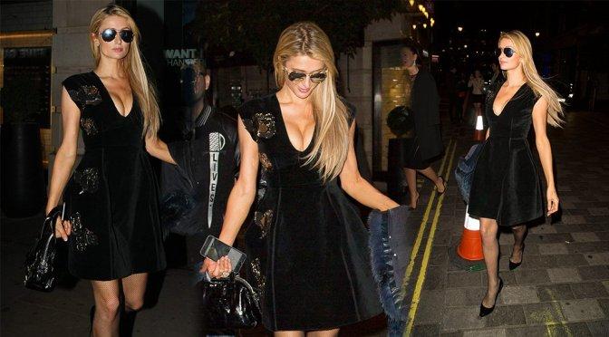 Paris Hilton – Cleavage Candids in London