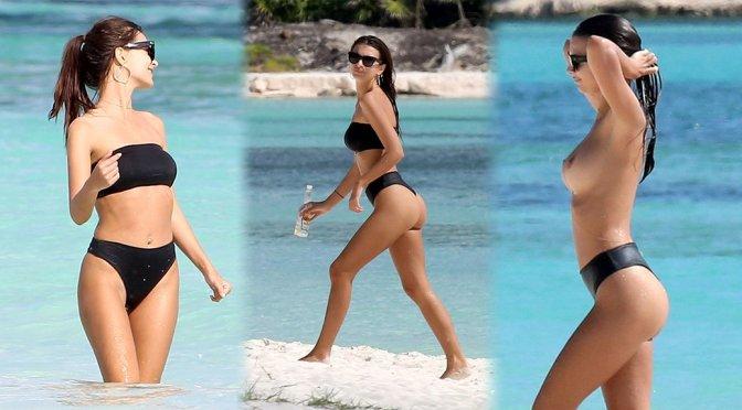 Emily Ratajkowski – Bikini & Topless Candids in Cancun