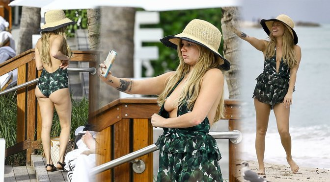 Chanel West Coast – Swimsuit Candids in Miami (Nipslip)
