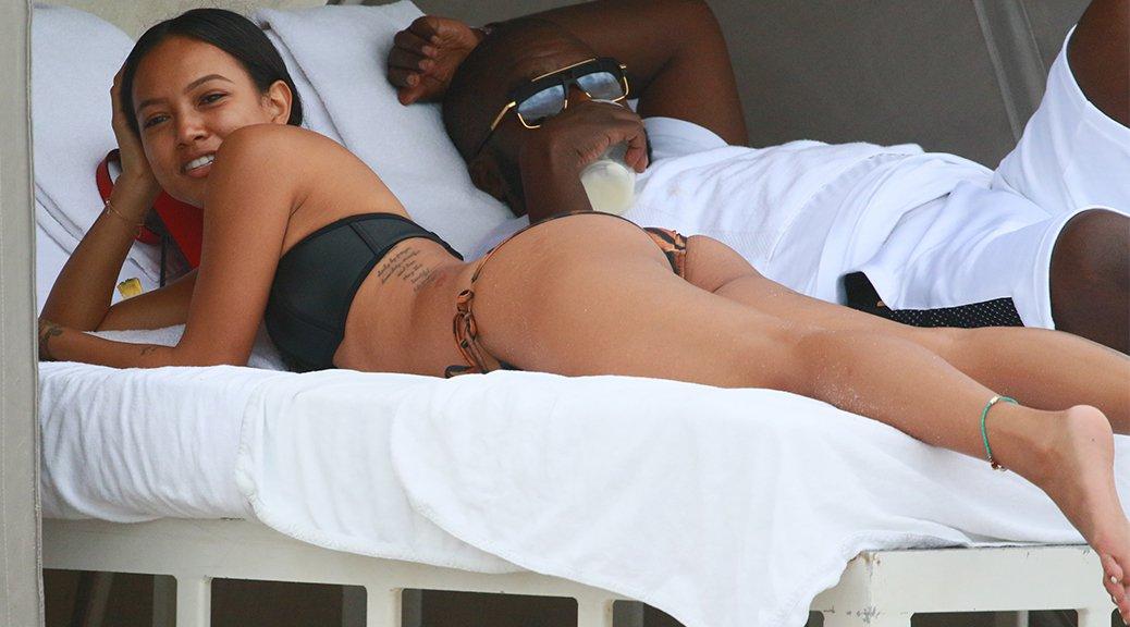 Karrueche Tran - Bikini Candids in Miami