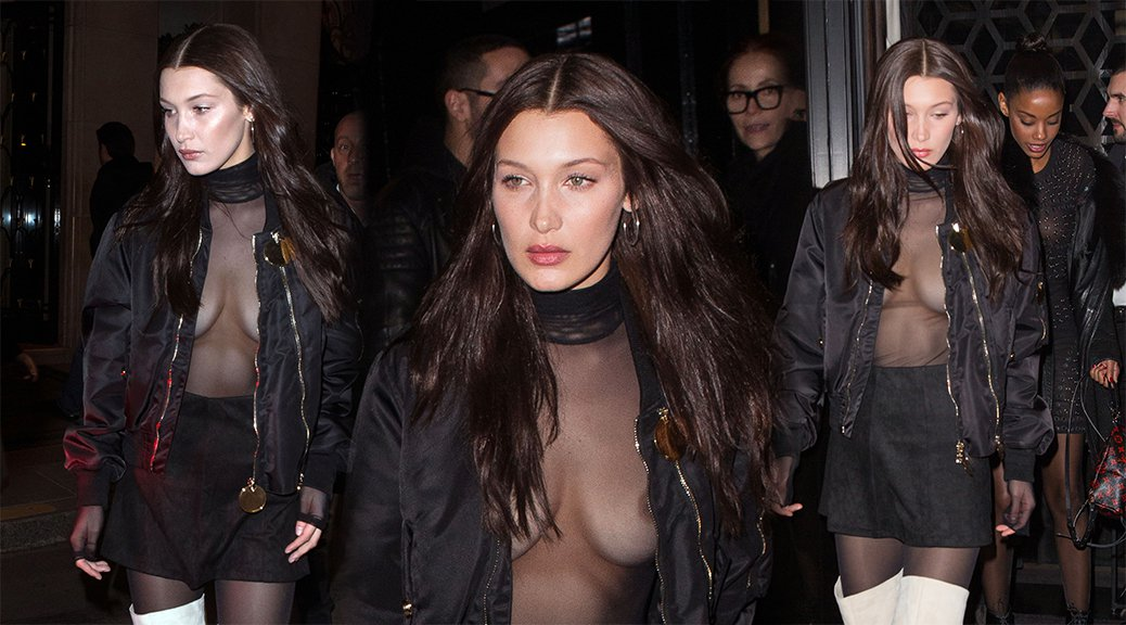 Bella Hadid - Braless See-Through Candids in Paris