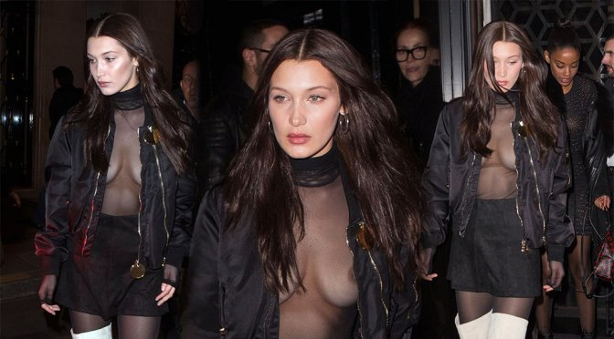 Bella Hadid – Braless See-Through Candids in Paris