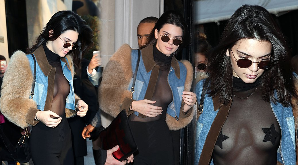Kendall Jenner - Braless See-Through Candids in Paris