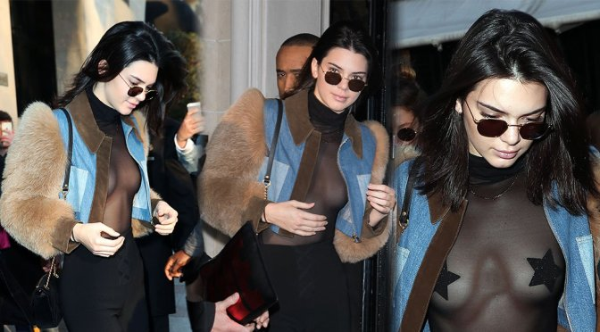 Kendall Jenner – Braless See-Through Candids in Paris