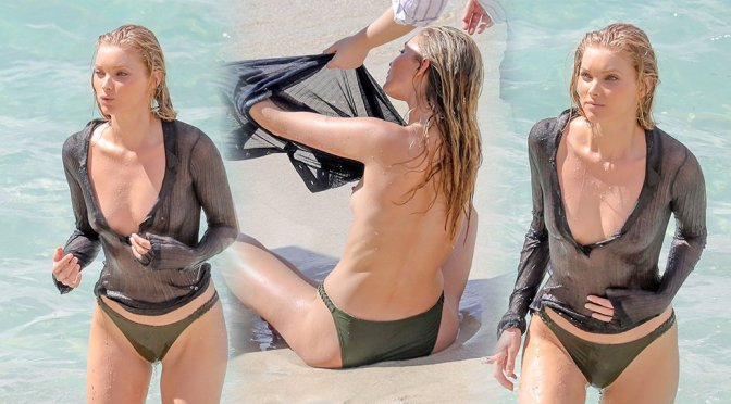 Elsa Hosk – Topless Photoshoot Candids in St Barts