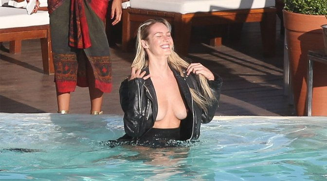 Candice Swanepoel – Vogue Magazine Topless Photoshoot Candids in Rio de Janeiro