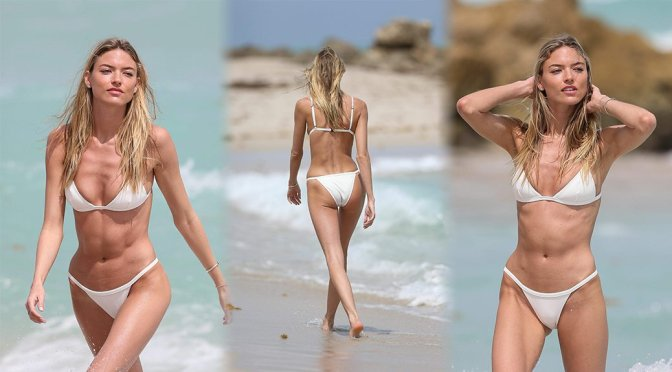 Martha Hunt – Bikini Candids in Miami Beach