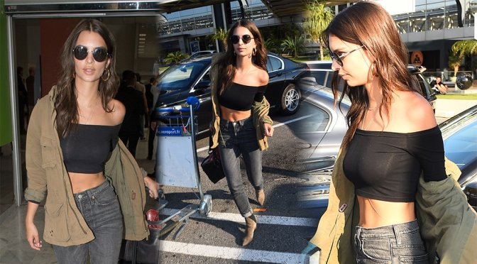 Emily Ratajkowski sexy arriving at Nice Côte d'Azur International Airport in Nice