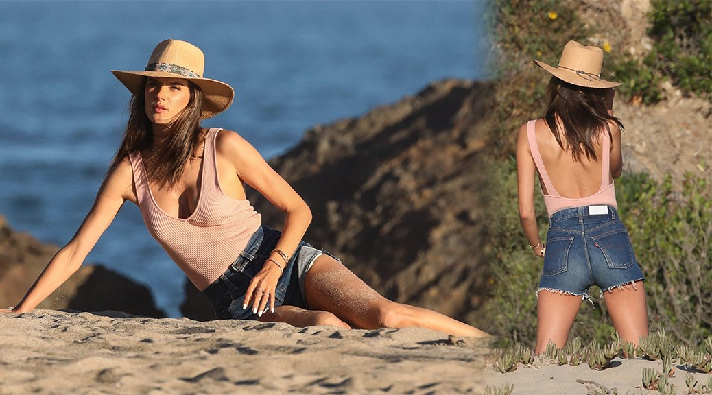 Alessandra Ambrosio - Swimsuit Photoshoot Candids in Malibu