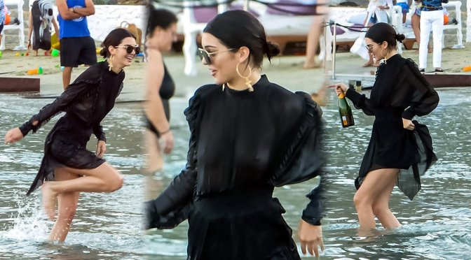 Kendall Jenner – Braless See-Through at Beach Party in Mykonos