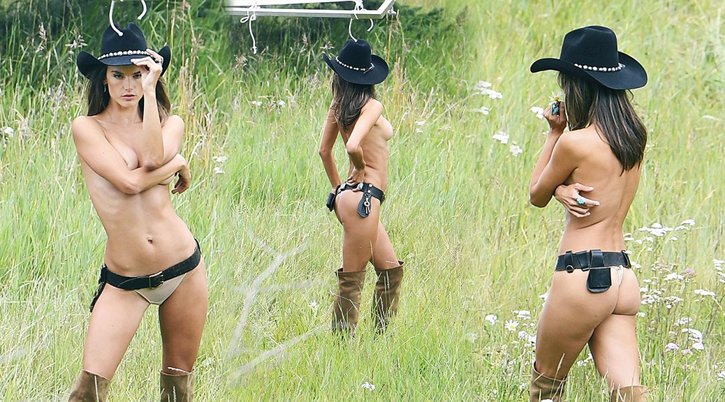 Alessandra Ambrosio - Victoria Secret's Topless Photoshoot Candids in Aspen