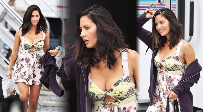 """Olivia Munn – Cleavage Candids on """"The Buddy Games"""" Set in Vancouver"""