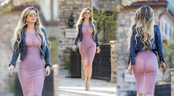 Ana Braga – Braless See-Through Candids in Los Angeles