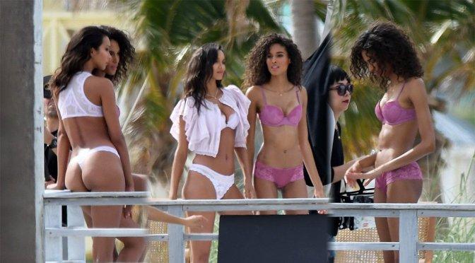 Lais Ribeiro & Cindy Bruna – Lingerie Photoshoot Candids in Miami