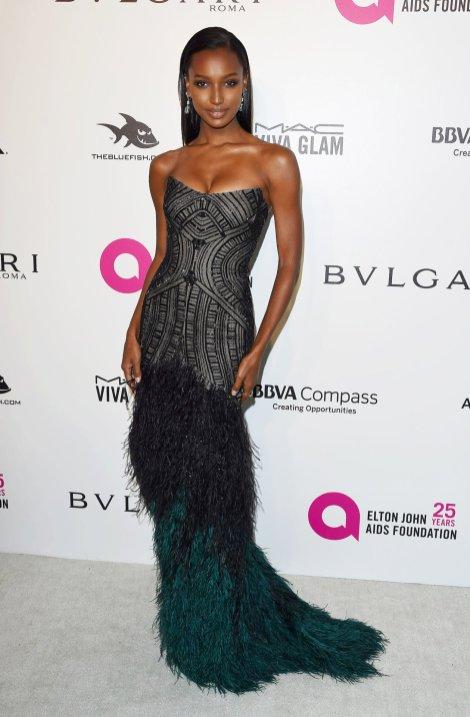 Jasmine Tookes' sexy body wearing tight dress