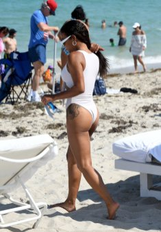 Christina Milian Sexy White Swimsuit