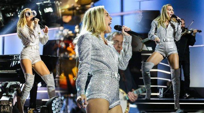 Miley Cyrus Leggy On Stage