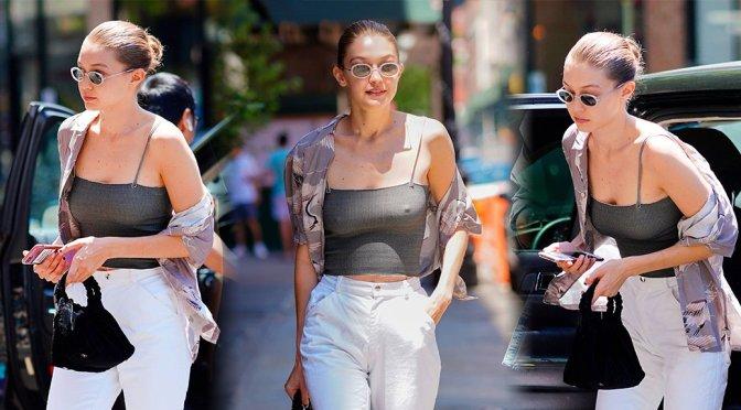 Gigi Hadid – Braless Candids in New York