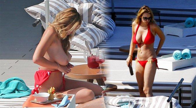 Rhian Sugden – Topless Bikini Candids in Ibiza