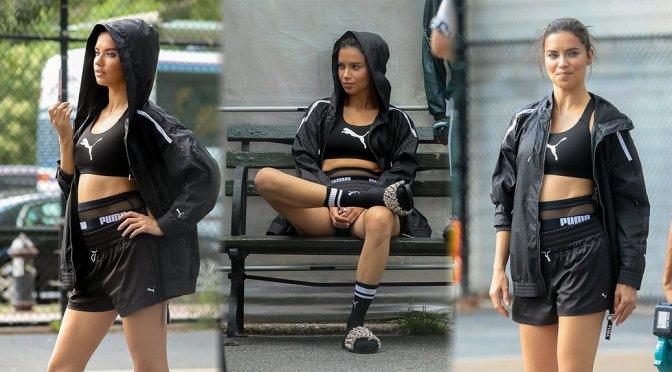 Adriana Lima – Puma & Maybelline Photoshoot Candids in New York