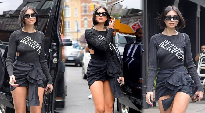 Dua Lipa – Braless & Upskirt Candids in New York
