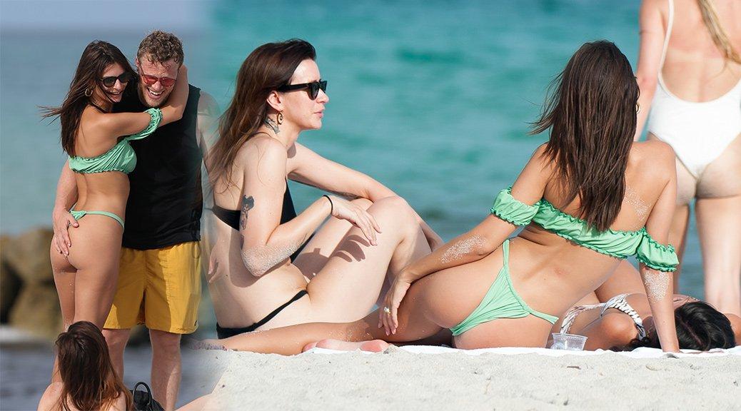 Emily Ratajkowski - Thong Bikini Candids in Miami