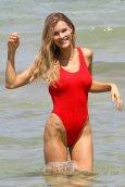 Joy Corrigan Sexy Red Swimsuit