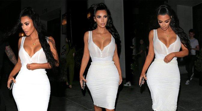 Kim Kardashian – Braless See-Through Candids in Beverly Hills