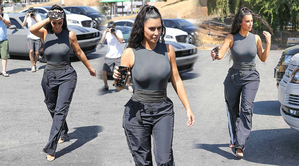 Kim Kardashian - Braless Candids in Los Angeles