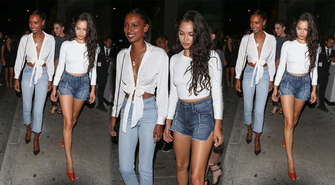 Shanina Shaik and Jasmine Tookes – Leggy Candids in West Hollywood