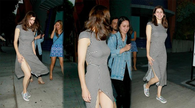 Alexandra Daddario Having Wardrobe Malfunction Exposing Panties