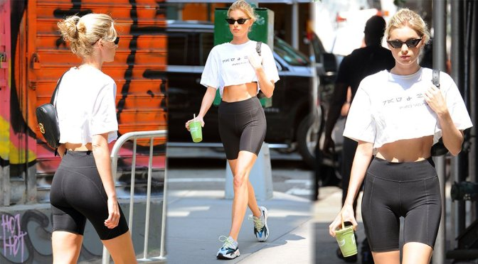 Elsa Hosk Sexy In Tight Shorts In Nyc