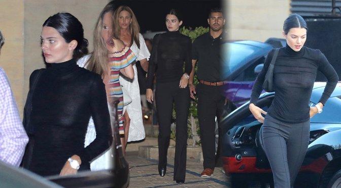 Kendall Jenner – Braless See-Through Candids at Nobu in Malibu