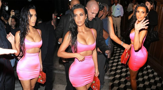 Kim Kardashian Sexy Body In Tight Pink Dress