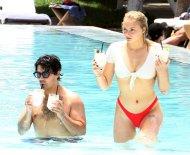 Sophie Turner Underboob In Bikini At Pool In Miami