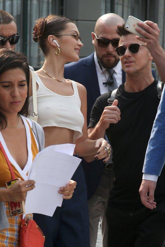 Bella Hadid Braless In Milan