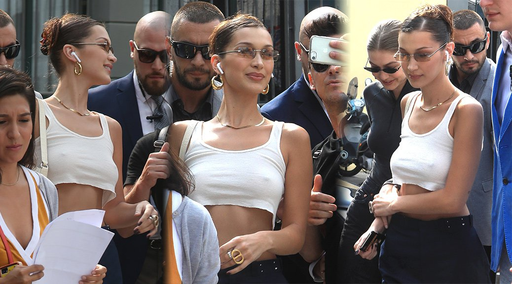 Bella Hadid - Braless Candids in Milan