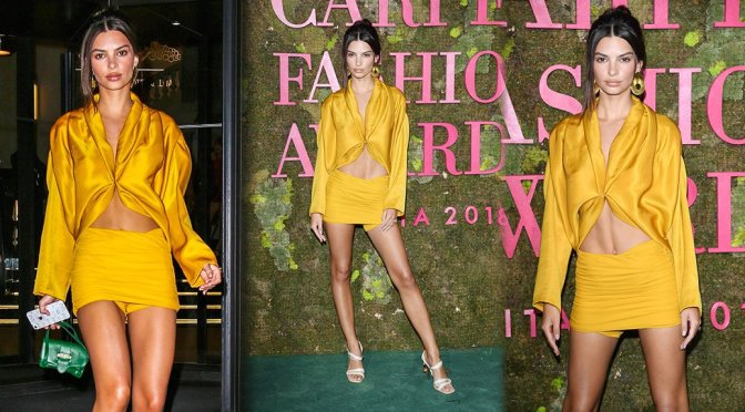 Emily Ratajkowski Sexy Upskirt In Short Yellow Mini Skirt