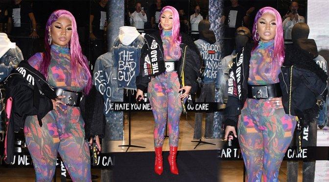 Nicki Minaj – Braless See-Through Candids in Milan