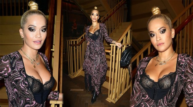 "Rita Ora – See-Through Bra at ""Two For Joy"" Premiere in London"