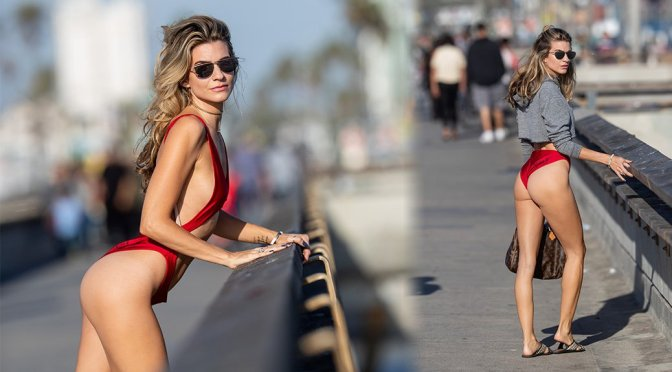 Rachel McCord – Voir Eyewear Swimsut Photoshoot in Santa Monica
