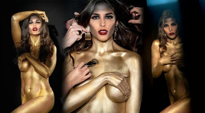Alejandra Ruz Sexy Gold Naked Body