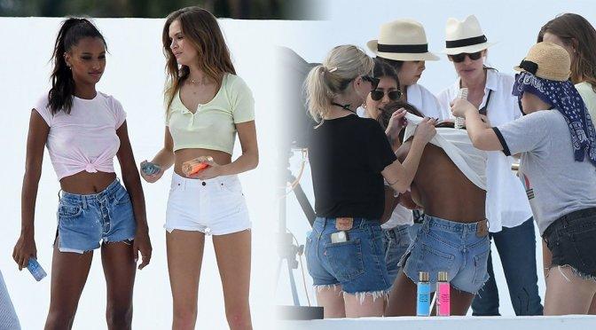 Josephine Skriver & Jasmine Tookes – Victoria's Secret Braless Photoshoot Candids in Miami