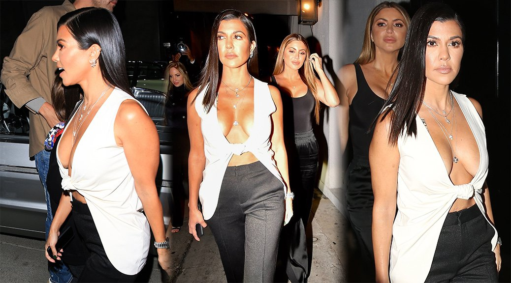 Kourtney Kardashian - Braless Cleavage Candids in Los Angeles