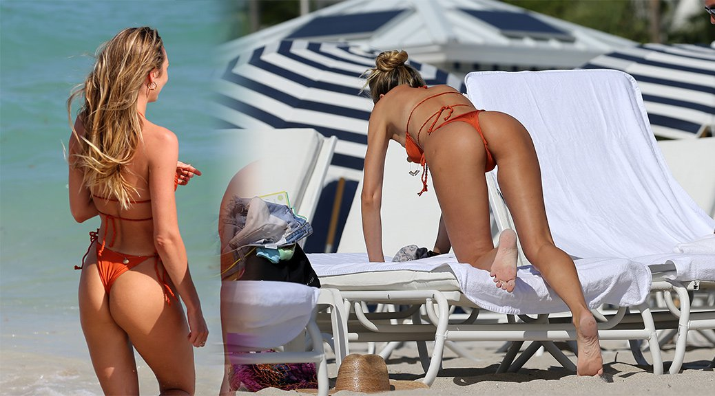 Candice Swanepoel in Bikini at the Beach in Miami