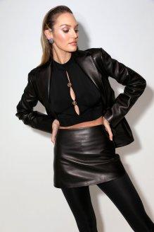 Candice Swanepoel Sexy Legs In Mini Skirt