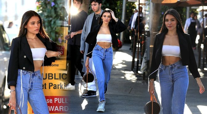 Madison Beer Sexy White Tube Top