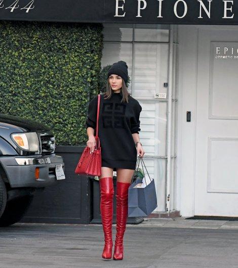 Olivia Culpo Red Sexy Boots