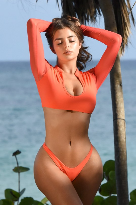 Demi Rose Mawby Looks Hot in Orange Bikini